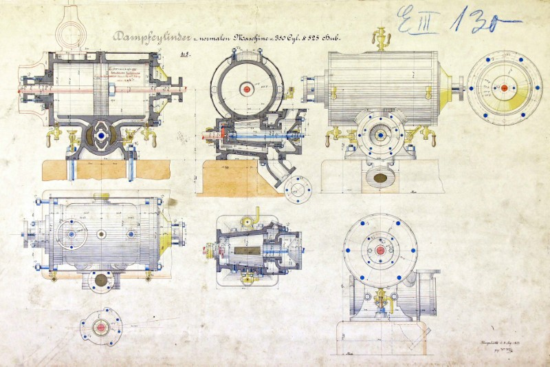 Technical drawing steam cylinder