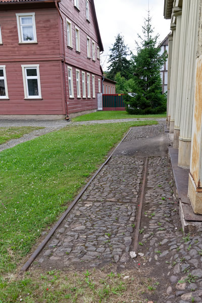 Small section of rails in front of the iron store